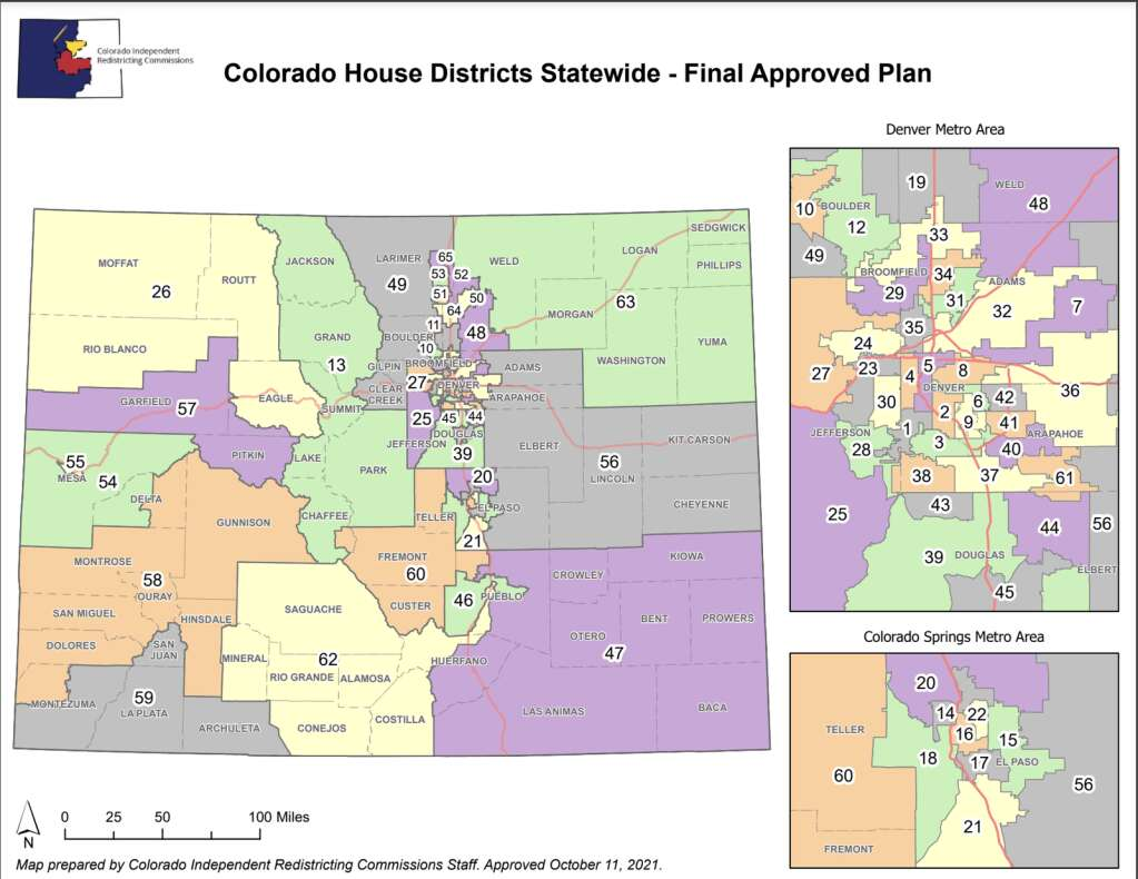 The final state House district map was approved Monday, Oct. 11. | Colorado Independent Congressional Redistricting Commission/Courtesy map