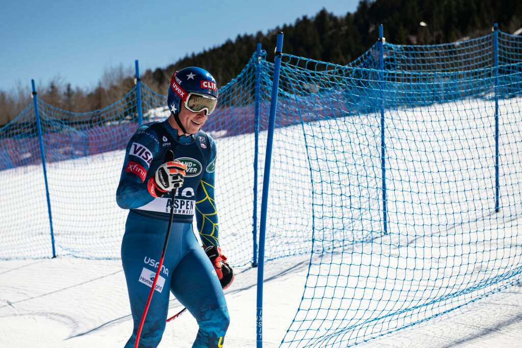 American alpine skier Sam Morse finishes his second run in third place at the Men's Downhill National Championships at Aspen Highlands on Saturday, April 10, 2021. (Kelsey Brunner/The Aspen Times)