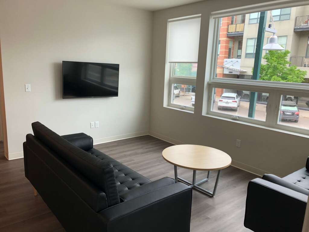 The living room in an apartment in Skico's building called The Hub at Willits. | Scott Condon/The Aspen Times