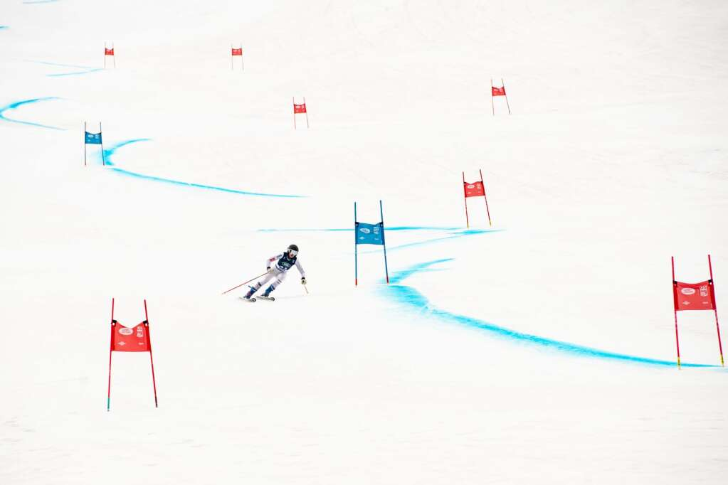 American alpine skier Maddie Welling competes in the Women's Super G National Championships at Aspen Highlands on Tuesday, April 13, 2021. (Kelsey Brunner/The Aspen Times)
