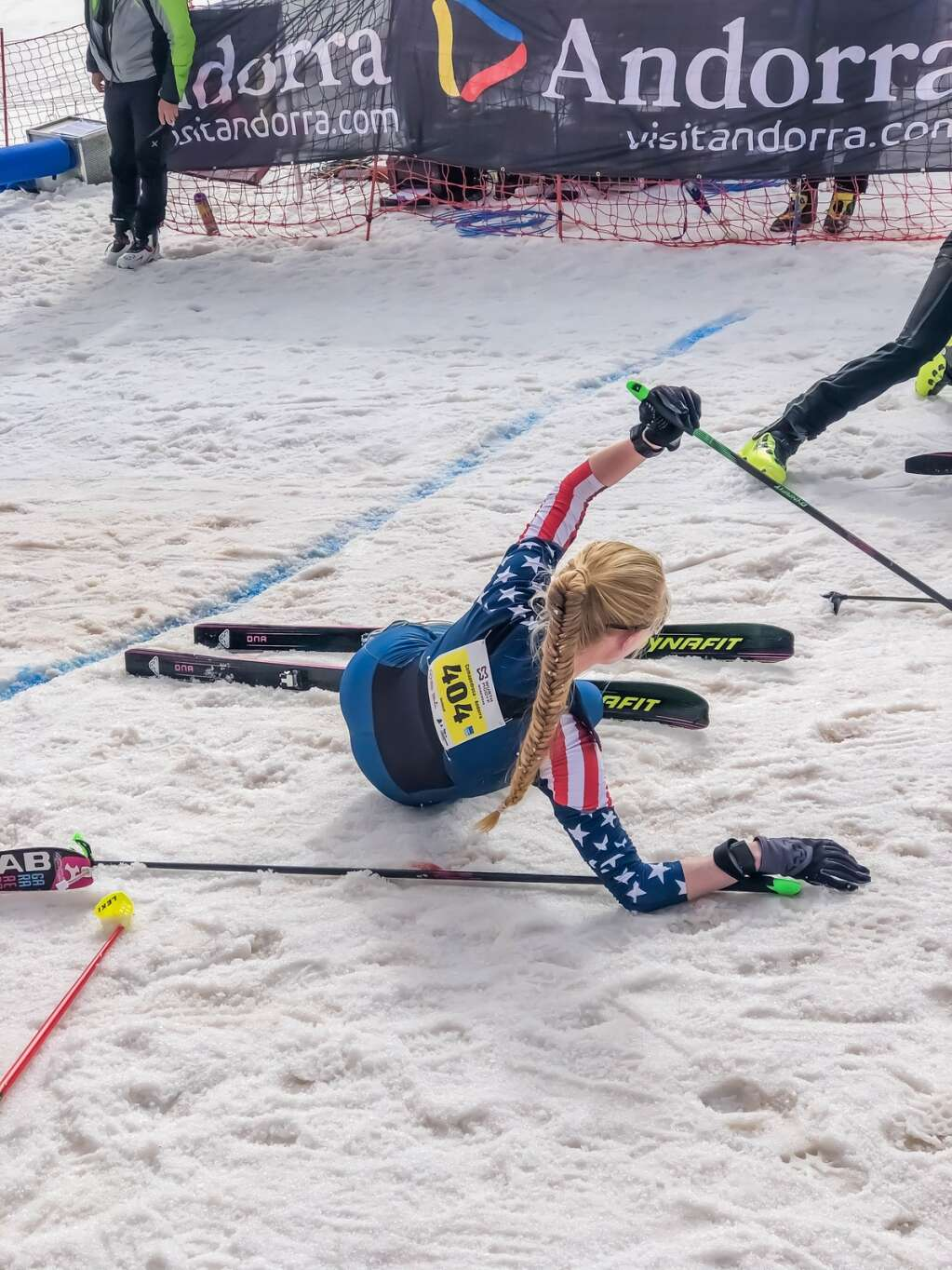 Summit County resident Grace Staberg recovers at the end of the International Ski Mountaineering Federation vertical U-20 women's world championship race Thursday, March 4, in Andorra, where she won silver. | Photo by SkiMoStats.com