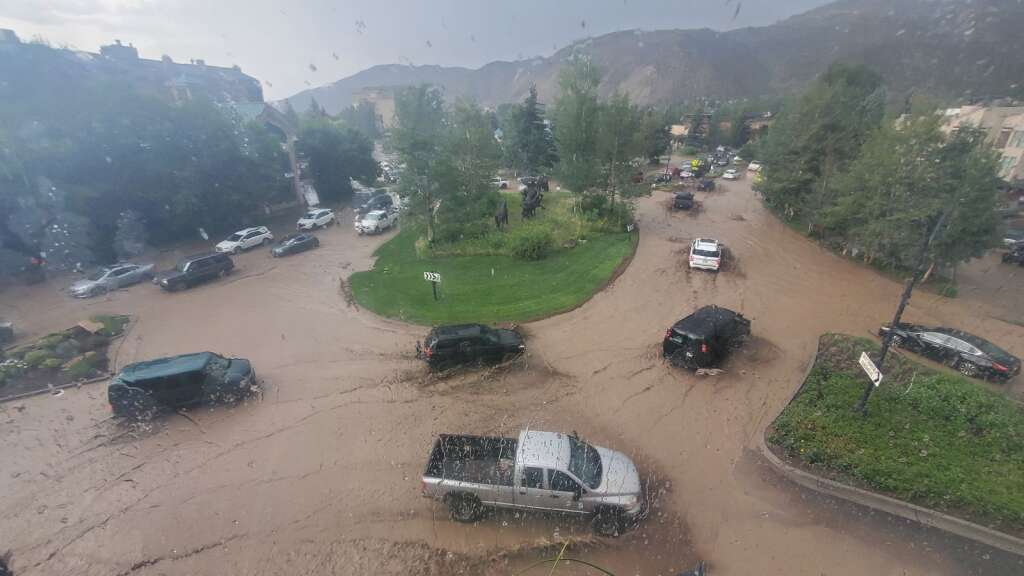Mud and water clog the roundabout in Avon at Avon Road and Beaver Creek Boulevard. | Lindsay L. Hardy/Special to the Daily
