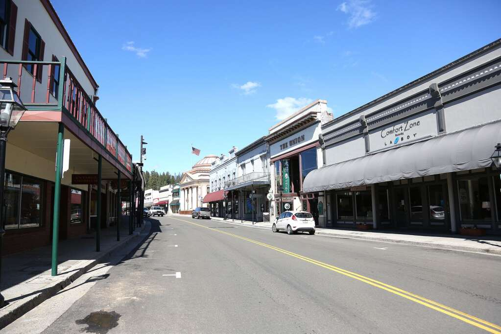 Downtown Grass Valley looked like a ghost town April 1 with businesses shuttered due to the coronavirus stay at home orders. | Photo: Elias Funez