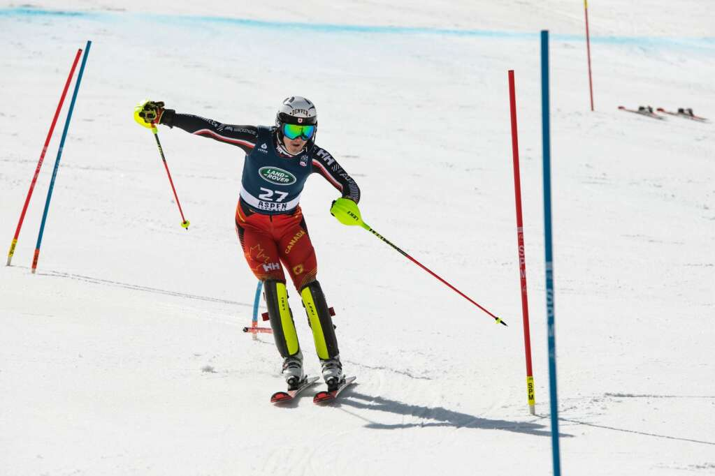 Canadian alpine skier Simon Fournier turns around gates during the U.S. Alpine Championships at Aspen Highlands on Wednesday, April 7, 2021. Fournier placed second during the Super G Championships. (Kelsey Brunner/The Aspen Times)