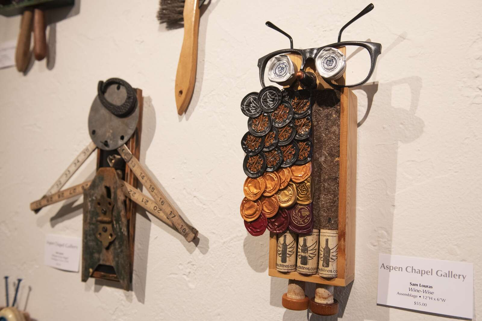 Pieces by Sam Louras are displayed in the Aspen Chapel Gallery for the Small Wonders holiday show and sale on Tuesday, Nov. 17, 2020. (Kelsey Brunner/The Aspen Times)