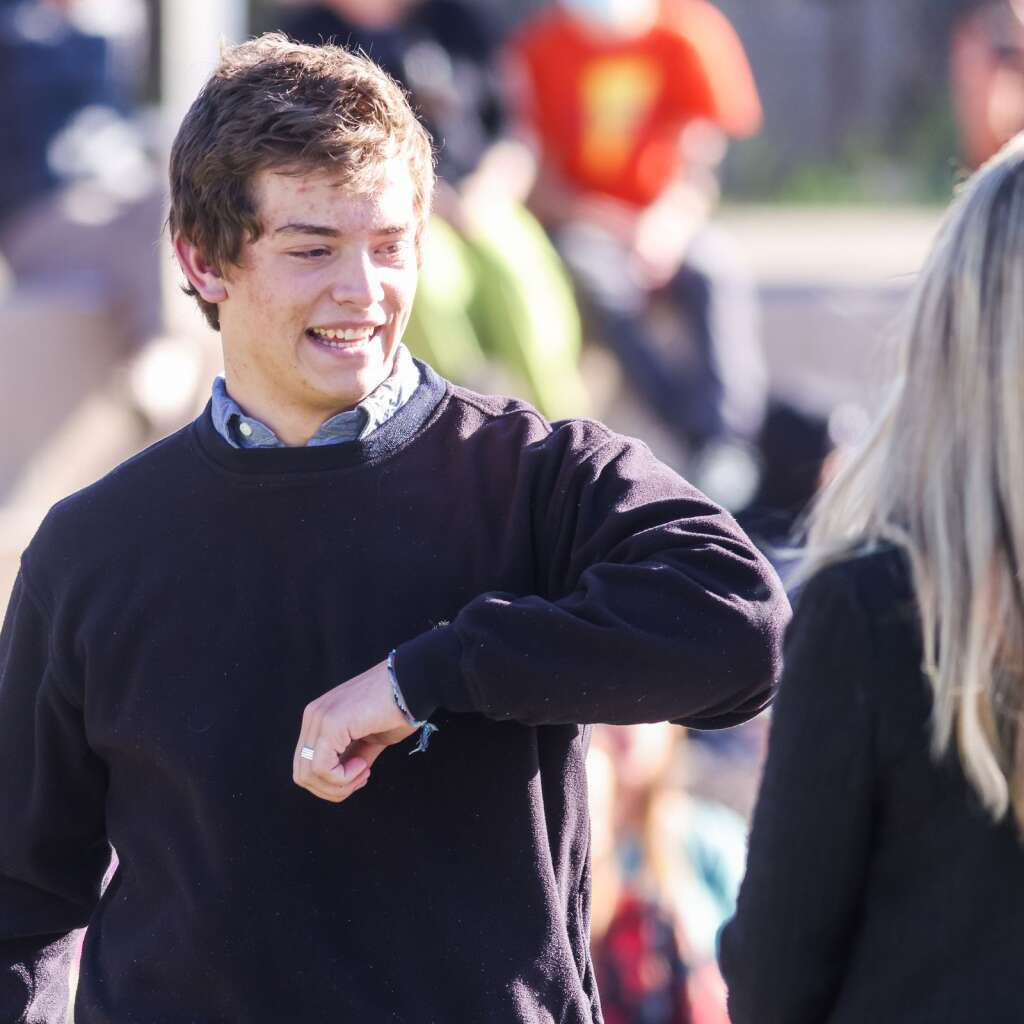 Asher Fite celebrates during the Aspen High School senior awards and local scholarship ceremony on Monday, May 24, 2021, on the AHS turf field. Photo by Austin Colbert/The Aspen Times.