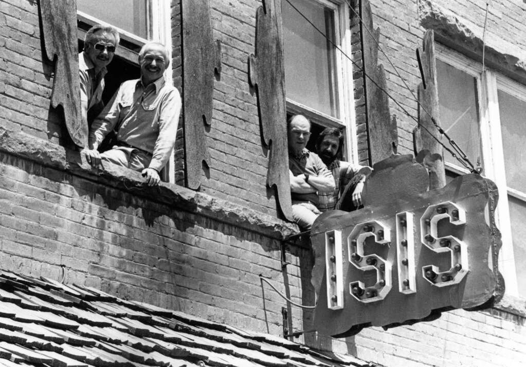 One b/w photograph of Filmfest judges Robert Murray, Lorenzo Semple, Jr. and Bill Shorr.  This image is in the Aspen Times on July 14, 1983, p. 21-B.  Dominic Linza, owner/manager of the Isis Theater, is on the left. (Aspen Historical Society, Aspen Times Collection)