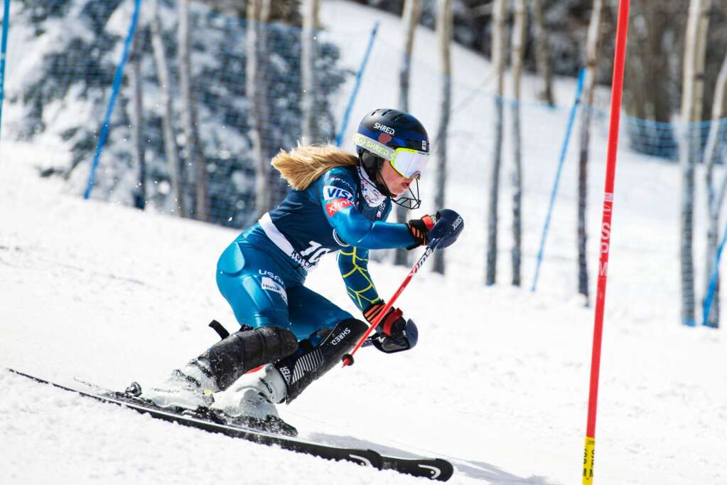 American alpine skier Ainsley Proffit makes turns during the second run of the Women's Slalom National Championships at Aspen Highlands on Friday, April 16, 2021. (Kelsey Brunner/The Aspen Times)