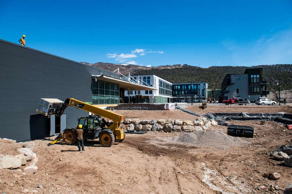 Construction on both the inside and outside of The Arts Campus at Willits' performing arts center continues as usable outdoor space is prepared, as well as an inside theatre, for performances in Basalt on Thursday, March 18, 2021. (Kelsey Brunner/The Aspen Times)
