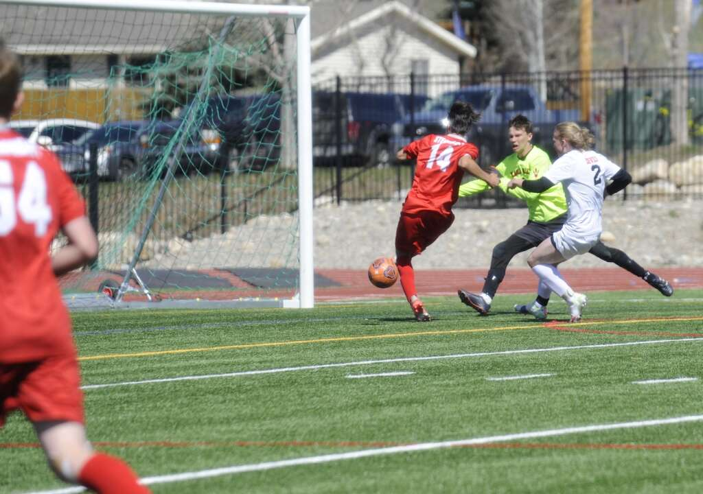 Joe Scoppa nearly scores, again, during a game against Eagle Valley on Saturday afternoon. (Photo by Shelby Reardon)