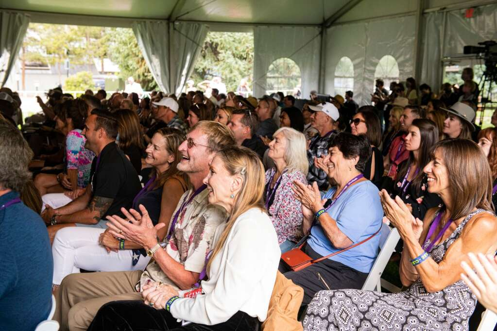 A crowd laughs long to the banter of Guy Fieri during his morning seminar at Food & Wine Classic in Aspen on Saturday, Sept. 11, 2021. (Kelsey Brunner/The Aspen Times)