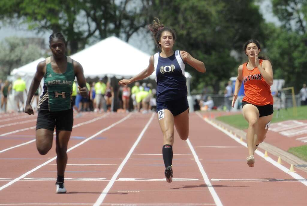 Hayden's Isabella Simones finished 16th in the 100 prelims at the CHSAA Track and Field State Championships at JeffCo Stadium on Thursday. (Photo by Shelby Reardon)