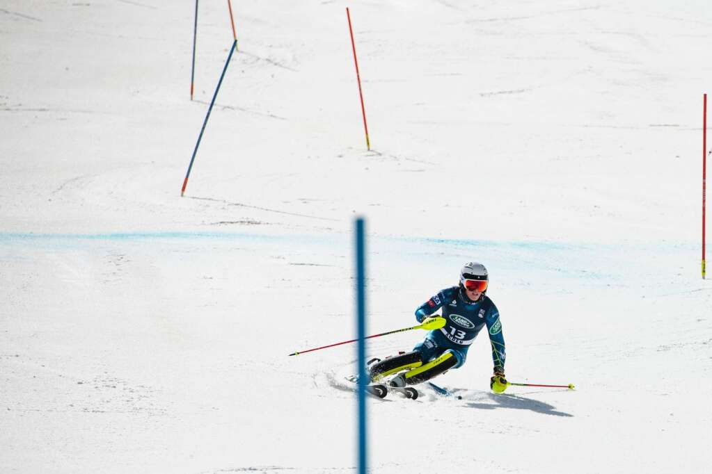 Glenwood Springs local alpine skier Cooper Cornelius navigates the U.S. Alpine Championship course on Wednesday, April 7, 2021. (Kelsey Brunner/The Aspen Times)
