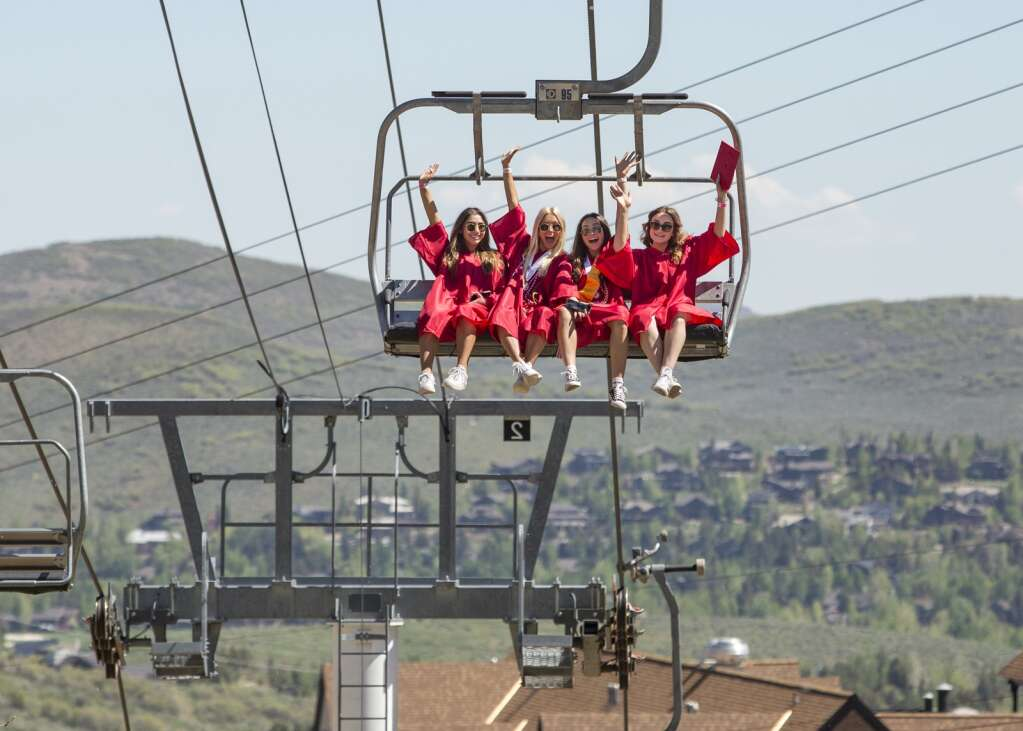 A group of Park City High School seniors ride the Crescent lift at Park City Mountain Resort during a celebratory event on Thursday, June 3, 2021. Senior class members were treated to a lift ride hours before their commencement ceremony. (Tanzi Propst/Park Record)