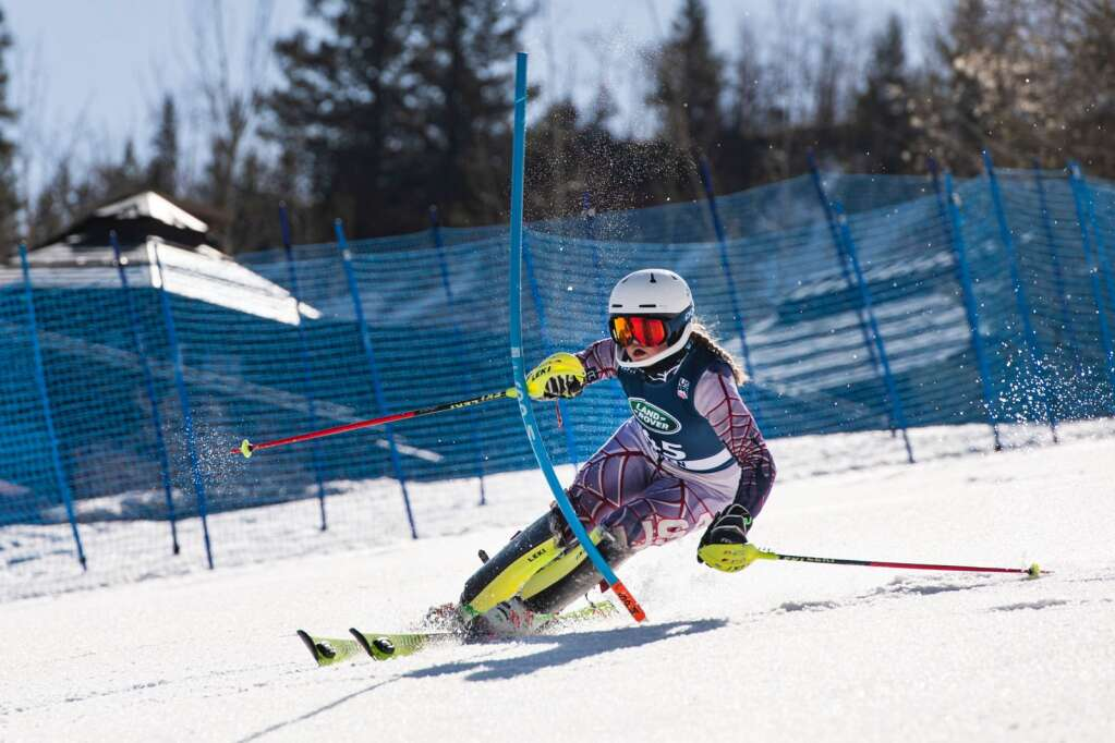 American alpine skier Allison Mollin competes in the Women's Alpine Combined FIS event at Aspen Highlands on Wednesday, April 14, 2021. (Kelsey Brunner/The Aspen Times)