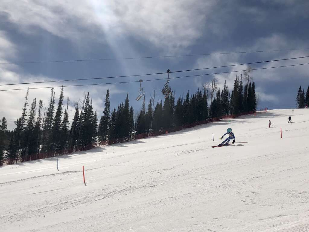 A skier competes on the slalom course at NASTAR national championships at Snowmass on April 5, 2021. | Kaya Williams/The Aspen Times