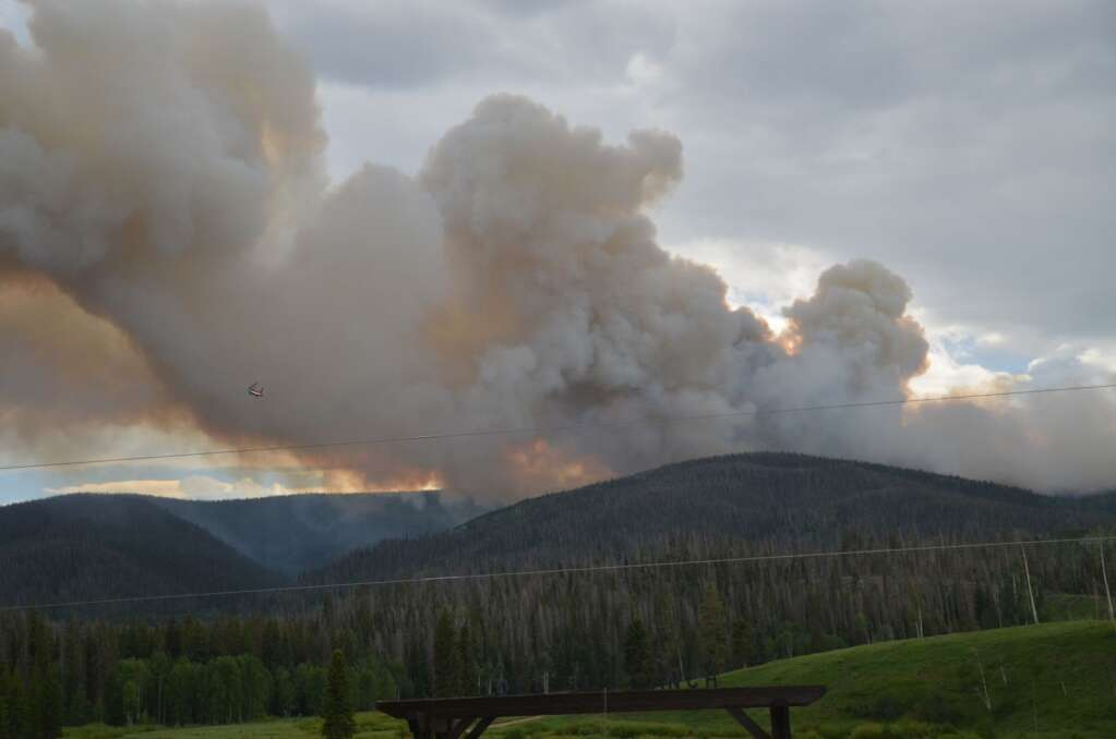 The Muddy Slide Fire is burning in the Medicine Bow-Routt National Forest and was estimated on Sunday night to be at about 100 acres, though crews are working to get a better size estimate on Monday. | Dylan Anderson/Steamboat Pilot & Today