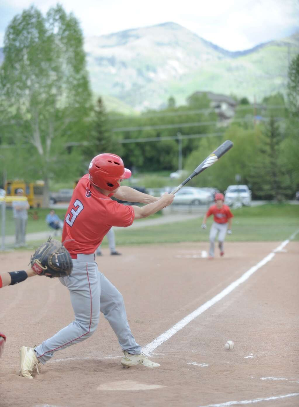 Glenwood Springs baseball player Braxton Mims swings at a pitch during a game at Steamboat Springs on Tuesday evening.