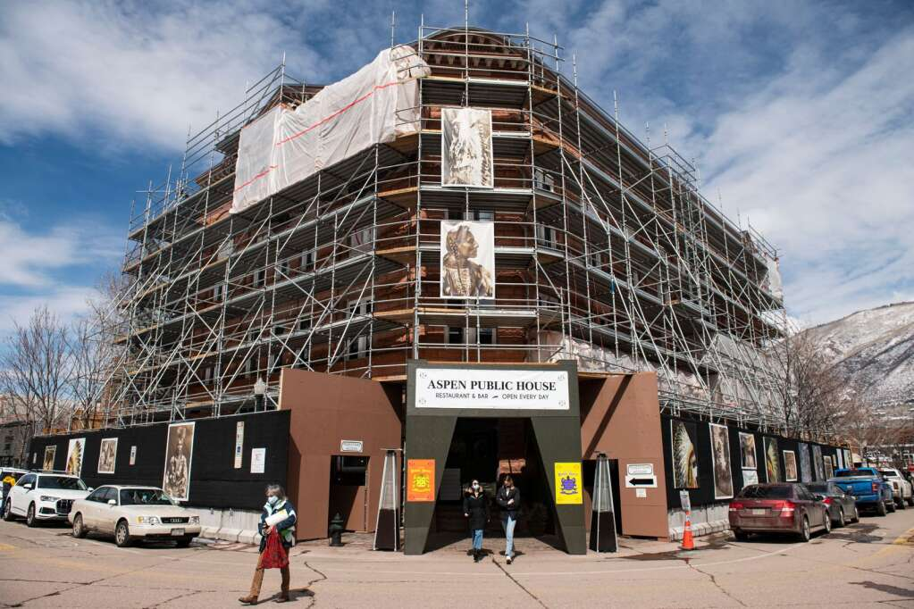 The scaffolding surrounds the Wheeler Opera House in Aspen during a restoration project on Wednesday, March 24, 2021. (Kelsey Brunner / The Aspen Times)