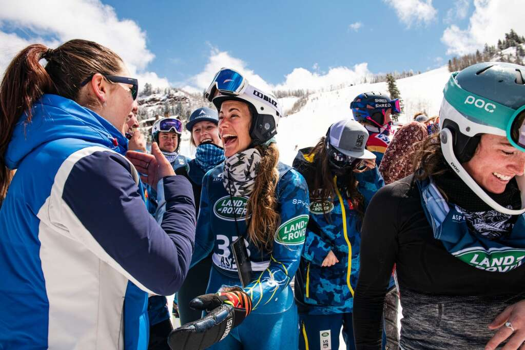 Jackson, Wyoming alpine skier Resi Stiegler gets showered with well wishes after finishing first in the Women's Slalom National Championships at Aspen Highlands on Friday, April 16, 2021. Stiegler believes this was her final official race and her teammates and fellow skiers celebrated with her for her win and career. (Kelsey Brunner/The Aspen Times)