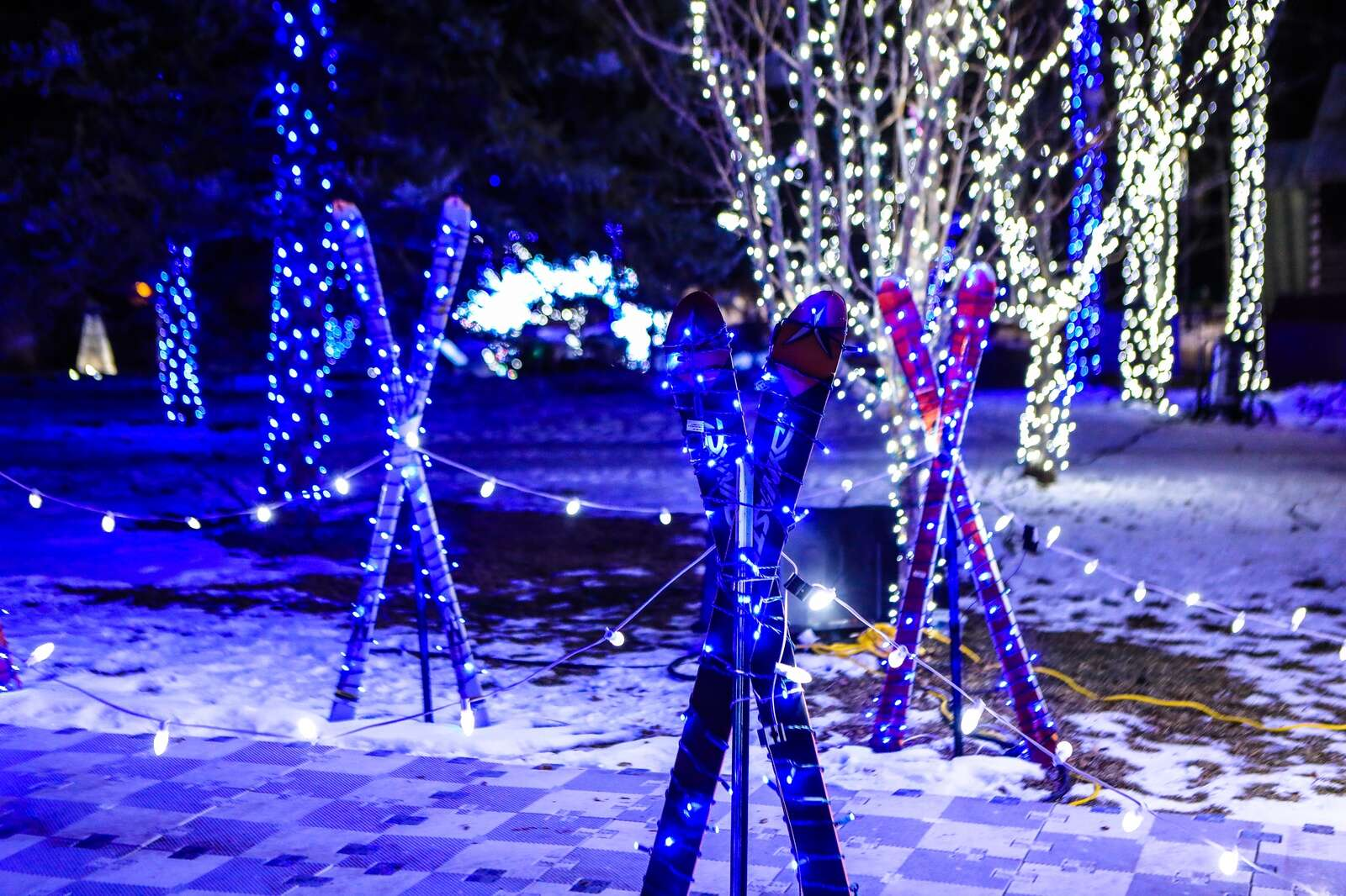 Ski-themed lights make up the Magic of Lights Vail Thursday in Vail.
