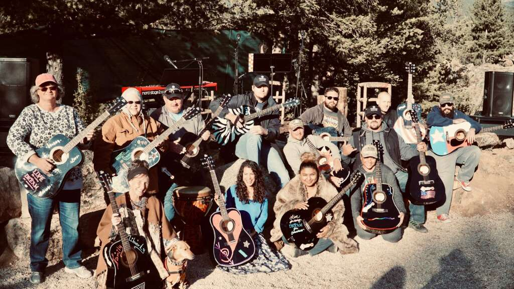 A pre-pandemic Challenge America music therapy retreat at Bison Peak Lodge in Lake George, Colorado