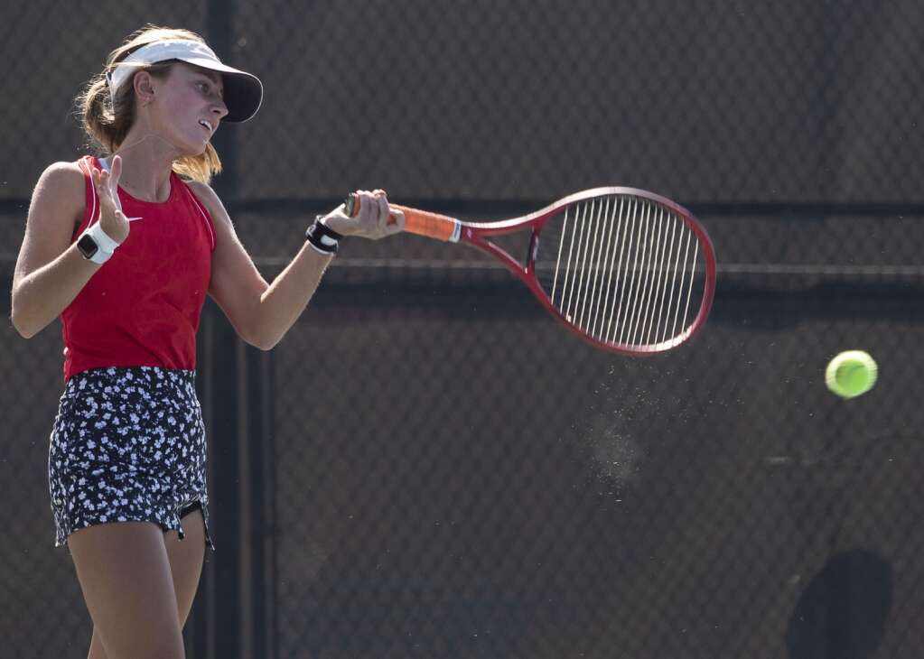 Park City High School junior first singles player Elle Martin returns a volley on court 7 during the Miners' matchup against Olympus at the PC MARC Wednesday afternoon, Sept. 8, 2021. (Tanzi Propst/Park Record)