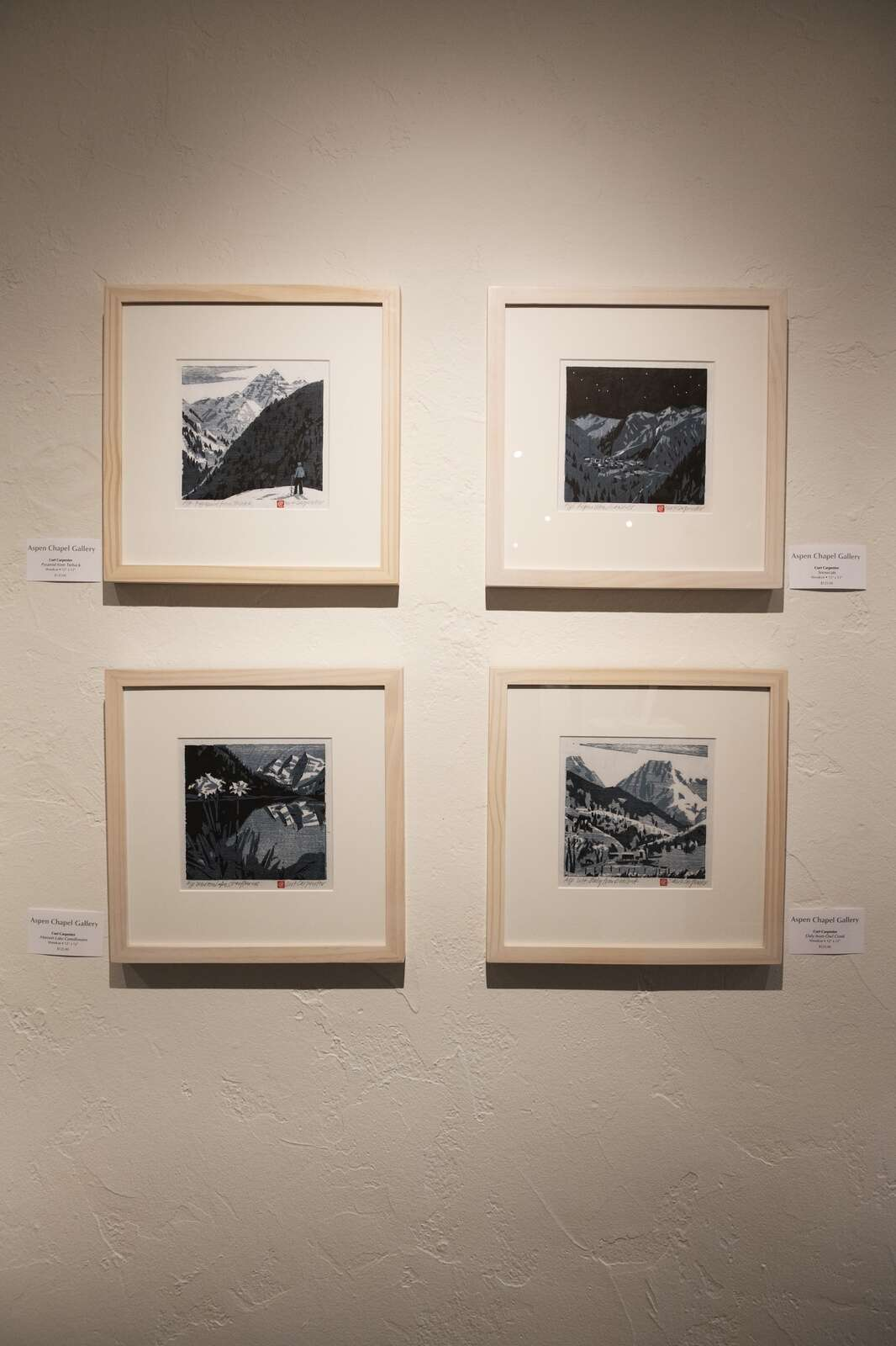 Work by Curt Carpenter is displayed in the Aspen Chapel Gallery for the Small Wonders holiday show and sale on Tuesday, Nov. 17, 2020. (Kelsey Brunner/The Aspen Times)