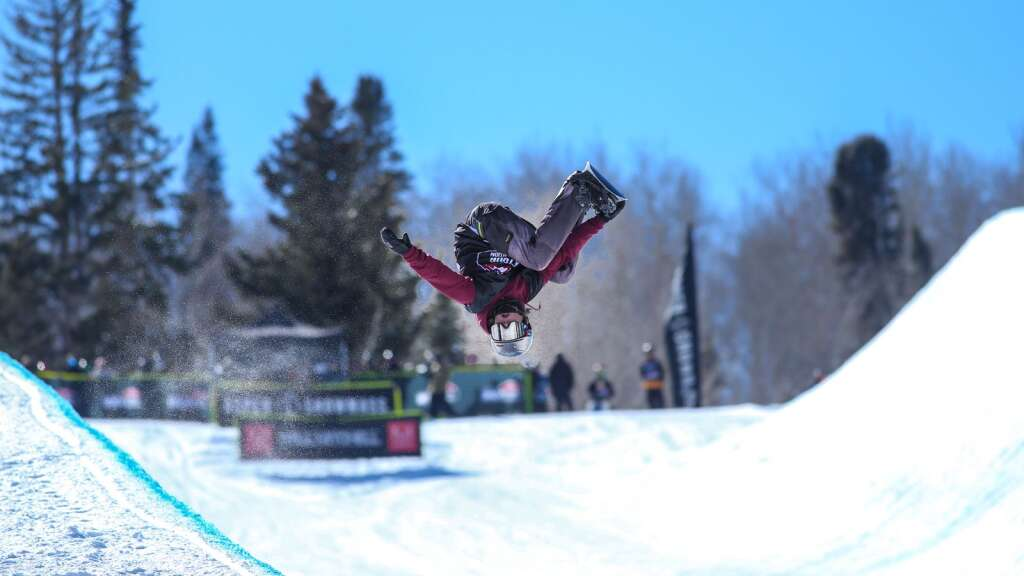 Hunter Goulet competes in the men's snowboard halfpipe contest at the U.S. Revolution Tour stop on Thursday, Feb. 25, 2021, at Buttermilk Ski Area. Photo by Austin Colbert/The Aspen Times.