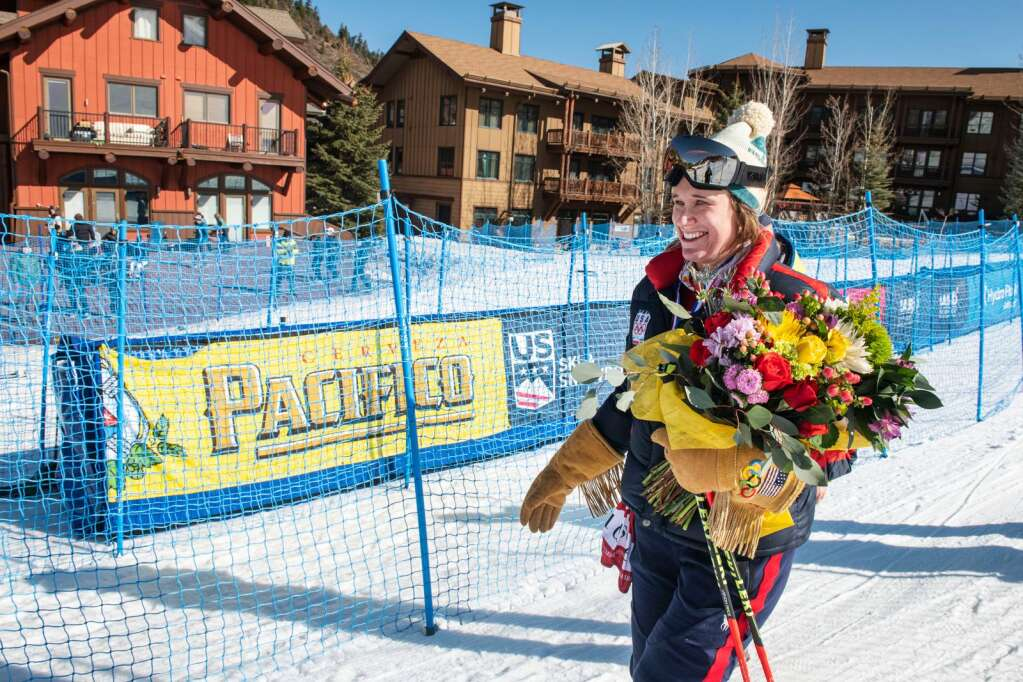 Two-time Olympian and Two-time national champion Alice McKennis Duran took a final lap to celebrate her retirement in between the two runs at the Downhill National Championships at Aspen Highlands on Saturday, April 10, 2021. (Kelsey Brunner/The Aspen Times)
