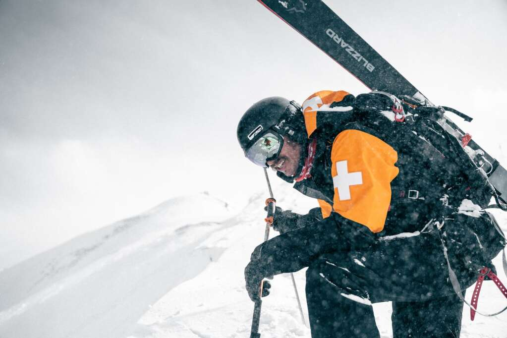 A ski patroller in Aspen Highlands checks one of the new uniforms in March 2020. |  Aspen Snowmass / courtesy photo