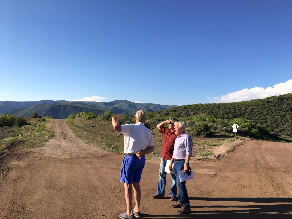 Wildcat Ranch Association President Bill Hegberg (left) chats with Snowmass Village Mayor Bill Madsen and attorney David Myler during a site visit of the Cougar Canyon and Cozy Point Ridge subdivisions on Monday, June 7, 2021.    Kaya Williams/The Snowmass Sun