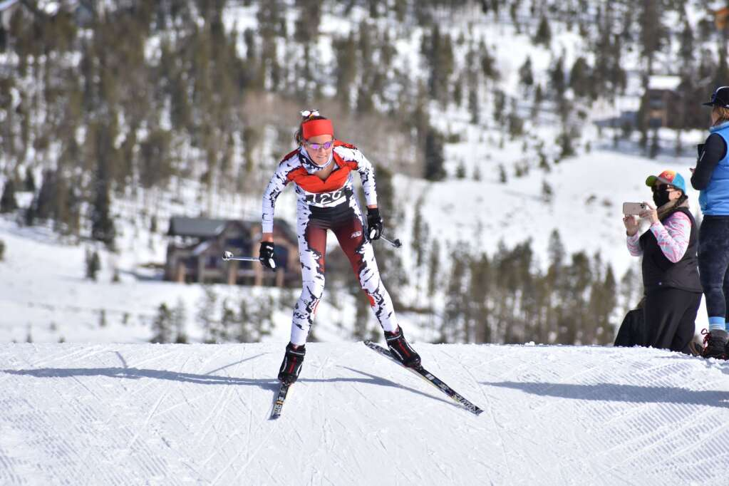 Aspen's Kylie Kenny competes in the Nordic state championships on Saturday, March 6, 2021, at the Gold Run Nordic Center in Breckenridge. Courtesy photo.