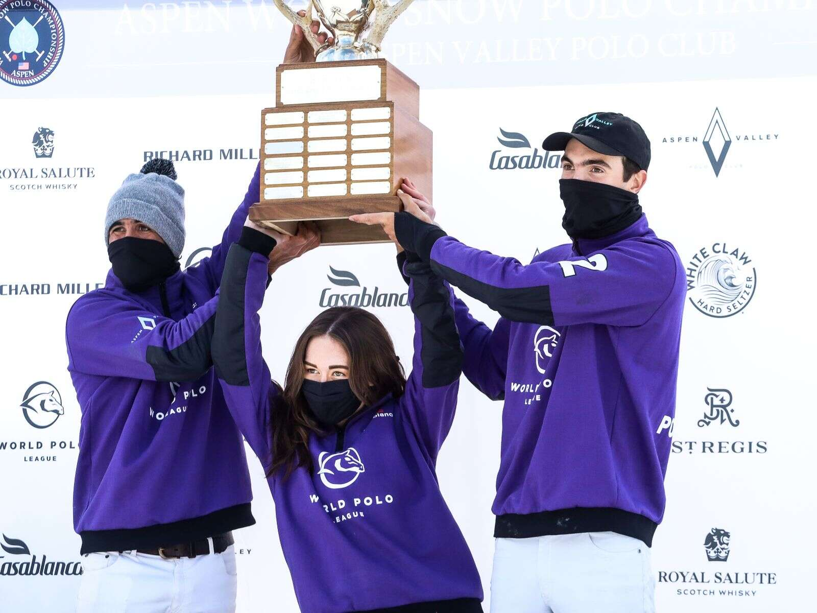 World Polo League celebrates after winning the championship of the  World Snow Polo Championship on Sunday, Dec. 20, 2020, at Rio Grande Park in Aspen. Photo by Austin Colbert/The Aspen Times.