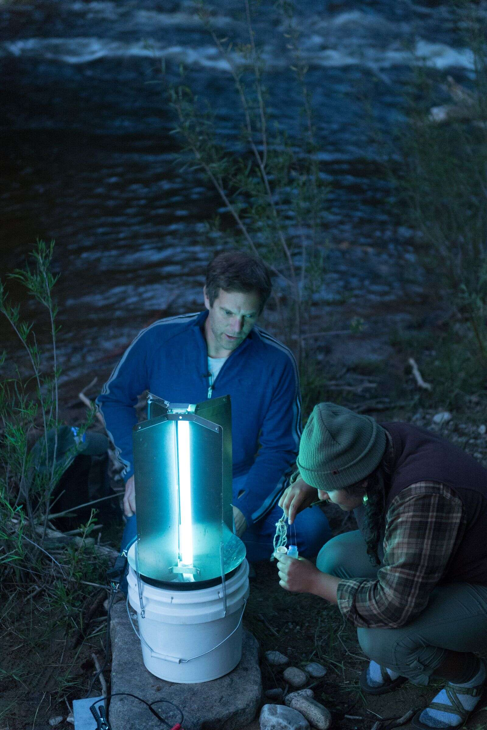Colorado Parks and Wildlife aquatic researcher Brian Heinhold and Colorado State University Fish, Wildlife and Conservation Biology student Griselda Landa-Posas attract insects with an ultraviolet trap during a BioBlitz at the Aspen Center for Environmental Studies Hallam Lake Preserve, June 26, 2019, a 25-acre site nestled in downtown Aspen. | William A. Cotton/CSU Photography