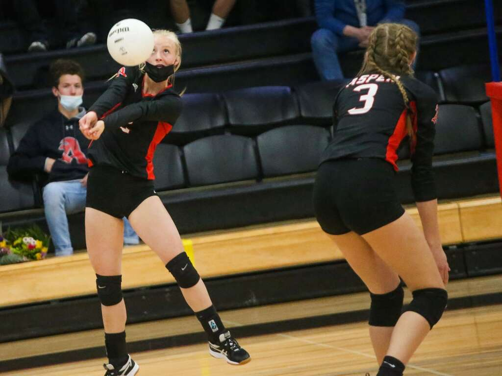 Aspen High School volleyball will host Basalt at the AHS gym on Tuesday, April 20, 2021.  Photo by Austin Colbert / The Aspen Times.