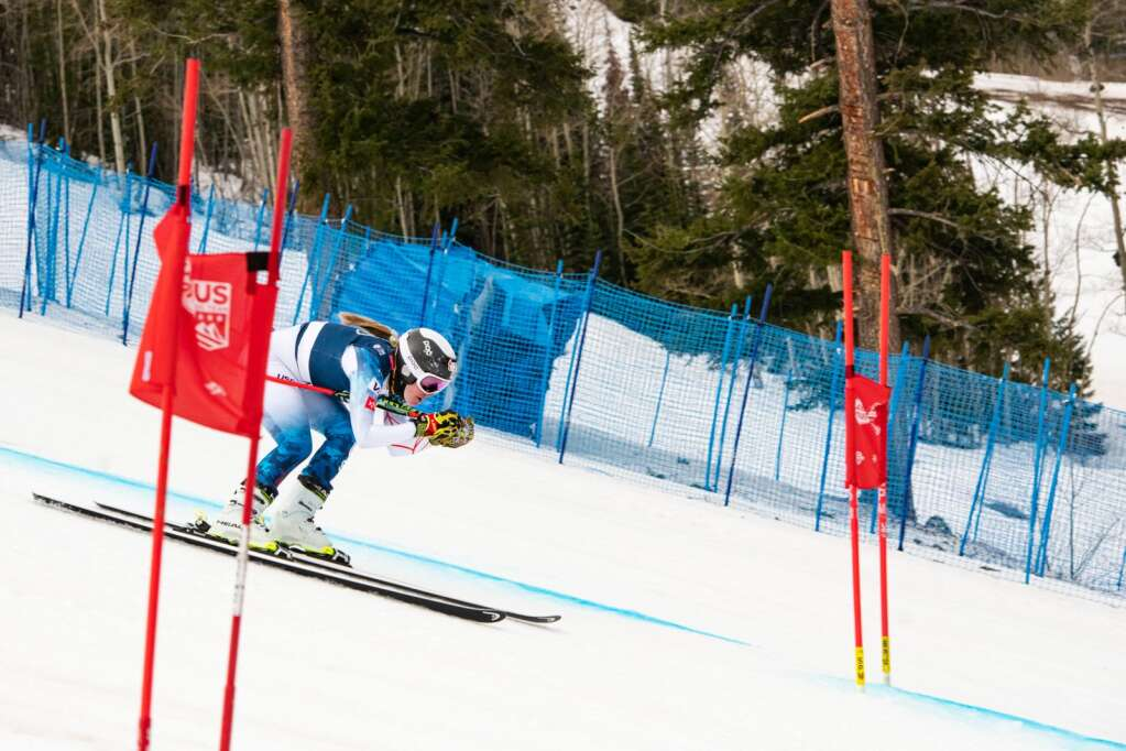 American alpine skier AJ Hurt competes in the Women's Super G FIS event at Aspen Highlands on Tuesday, April 13, 2021. Hunt took first place in the FIS event after not completing her first run during the National Championships.  (Kelsey Brunner/The Aspen Times)