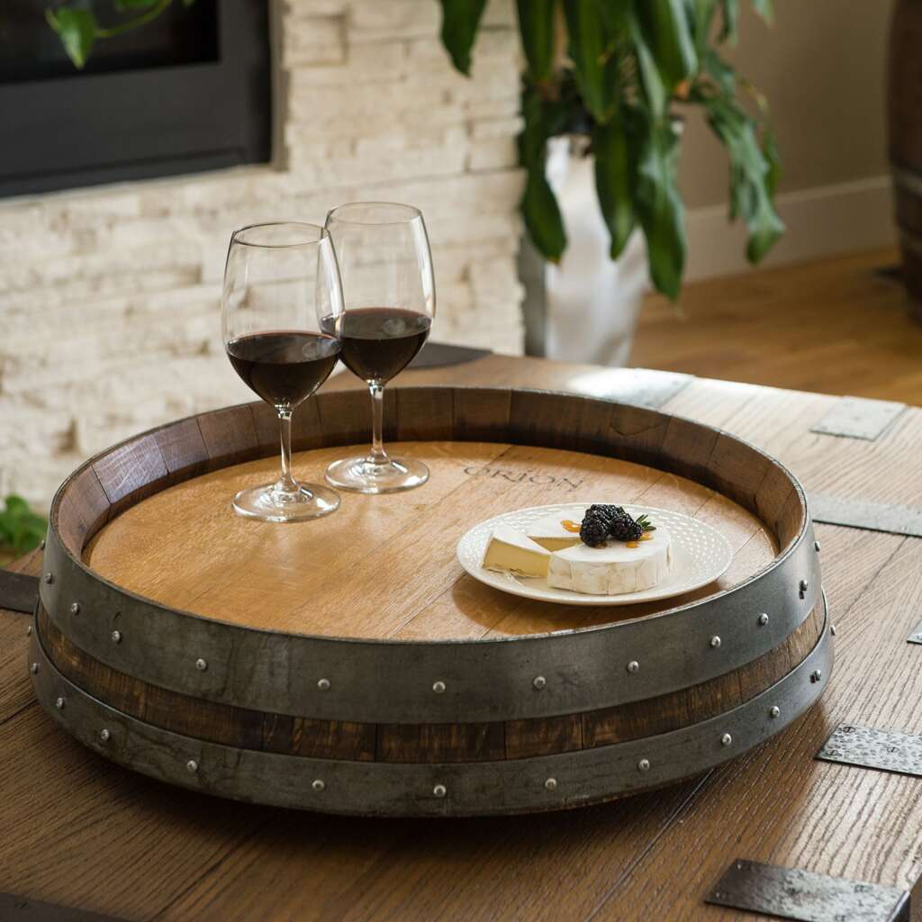 The collection of wooden creations from the artists at Alpine Wine Design includes lazy Susan made from old wine barrels. | Ignite Images courtesy photo