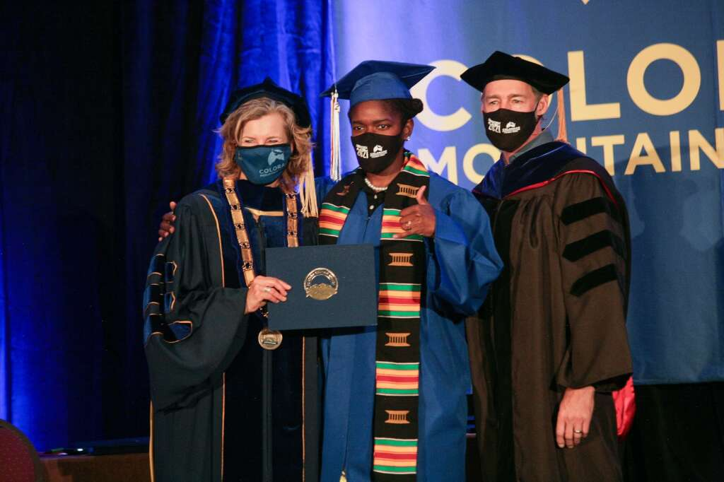 From left, Colorado Mountain College President and CEO Dr. Carrie Besnette Hauser, Janisha Williams and CMC Steamboat Springs Vice President and Campus Dean Jonathan