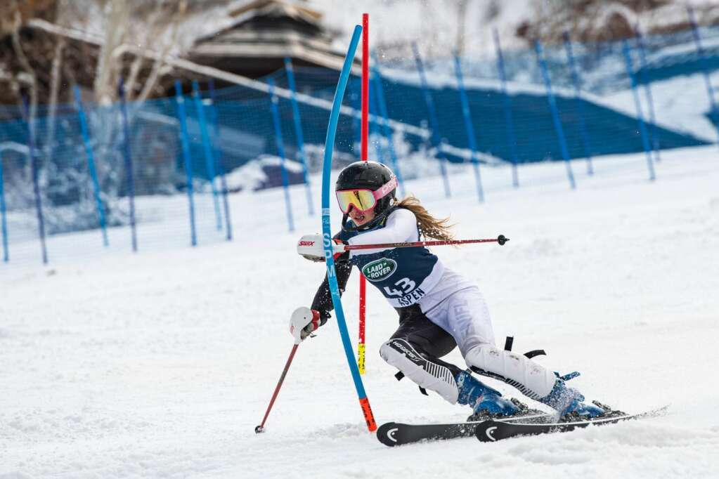 American alpine skier Maddie Welling competes in the Women's Slalom National Championships at Aspen Highlands on Friday, April 16, 2021. (Kelsey Brunner/The Aspen Times)