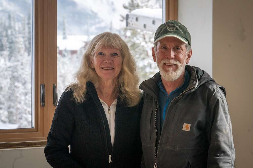 Deana and Rick Pratt stand April 27 in the garage of their energy-efficient home near Silverthorne inspired by the