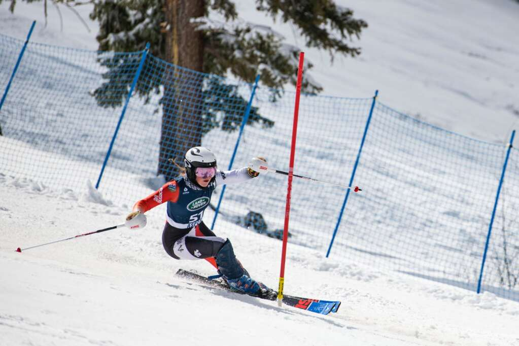 Canadian alpine skier Britt Richardson competes in the Women's Slalom National Championships at Aspen Highlands on Friday, April 16, 2021. (Kelsey Brunner/The Aspen Times)