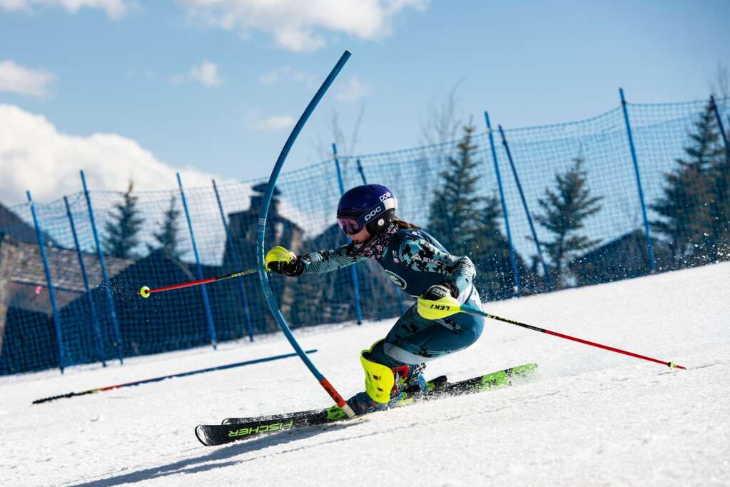 American alpine skier Liv Moritz competes in the Women's Alpine Combined FIS event at Aspen Highlands on Wednesday, April 14, 2021. (Kelsey Brunner/The Aspen Times)
