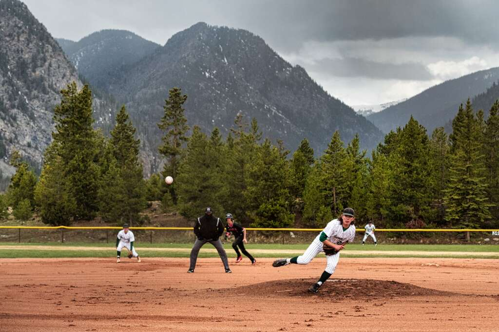 KJ Slaugh pitches during the Summit High School varsity baseball team's pair of wins over Eagle Valley at the Frisco Peninsula Recreation Area in Frisco on Tuesday.   Photo by Joel Wexler / Rocky Mountain.Photography