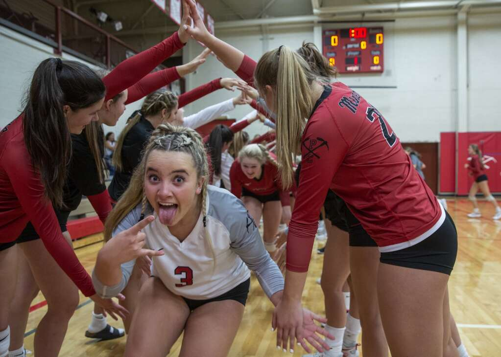 Park City High School senior Montana McCullough (3) makes a face for the camera as she and the Miners get excited for their match against East High School Tuesday evening, Sept. 14, 2021. The Miners swept the Leopards 3-0. (Tanzi Propst/Park Record)