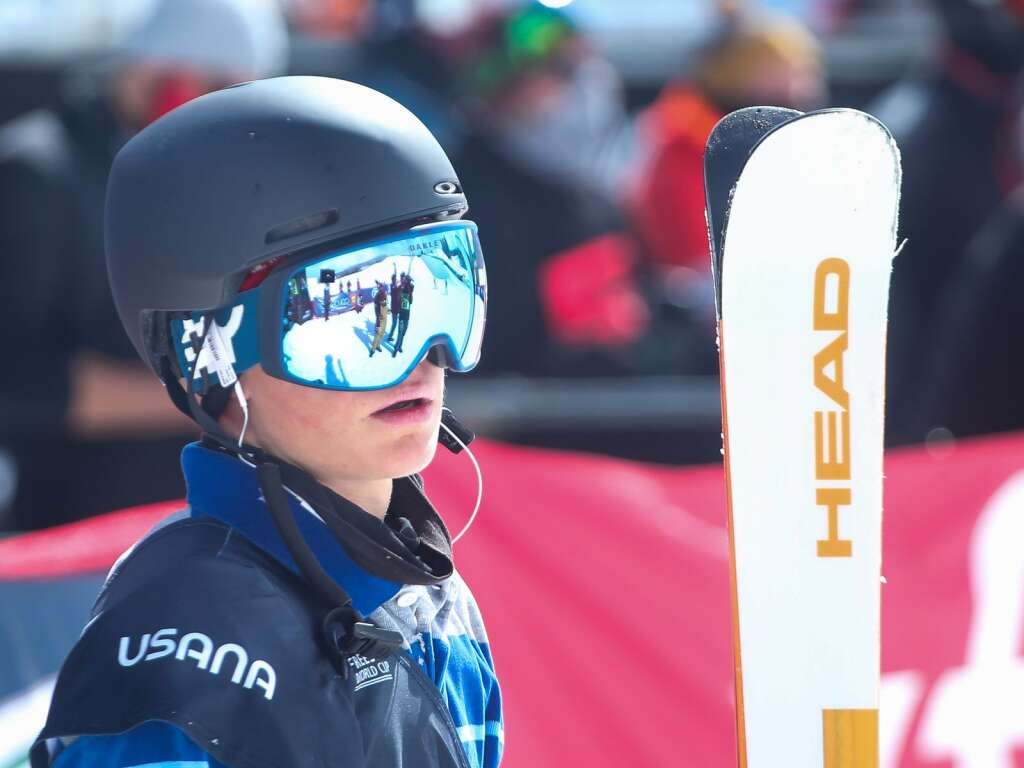 Aspen's Tristan Feinberg waits for his score during the men's freeski halfpipe final at the U.S. Grand Prix and World Cup on Sunday, March 21, 2021, at Buttermilk Ski Area in Aspen. Photo by Austin Colbert/The Aspen Times.