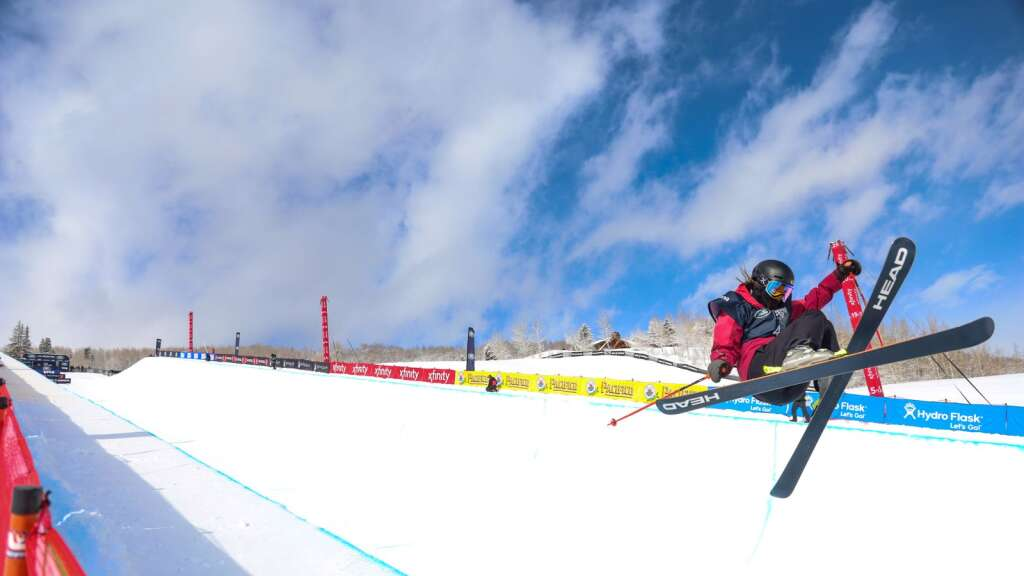 Great Britain's Zoe Atkin competes in the women's freeski halfpipe final at the U.S. Grand Prix and World Cup on Sunday, March 21, 2021, at Buttermilk Ski Area in Aspen. Photo by Austin Colbert/The Aspen Times.