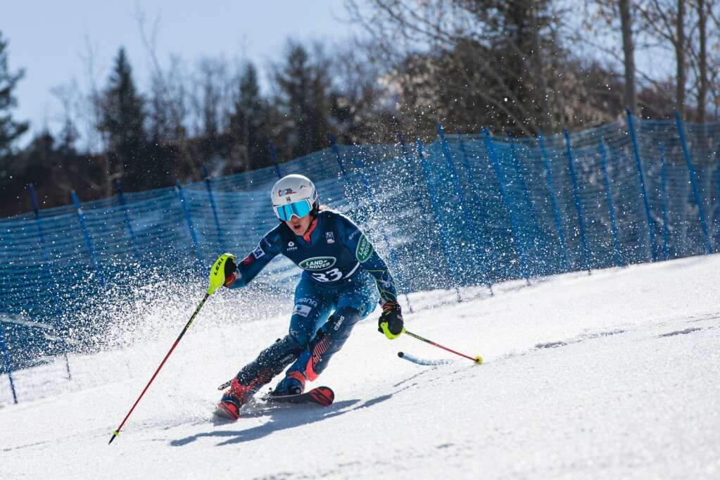 American alpine skier Resi Stiegler competes in the Women's Alpine Combined FIS event at Aspen Highlands on Wednesday, April 14, 2021. (Kelsey Brunner/The Aspen Times)