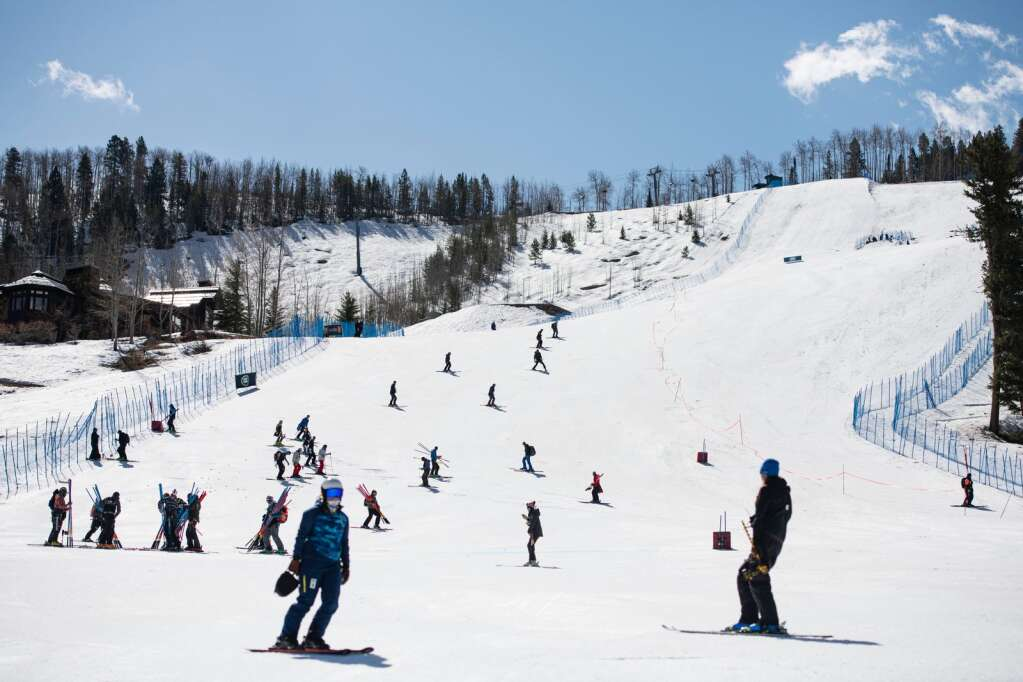 Skiers take part in the slalom portion of the combined on Wednesday, April 14, 2021. (Kelsey Brunner/The Aspen Times)
