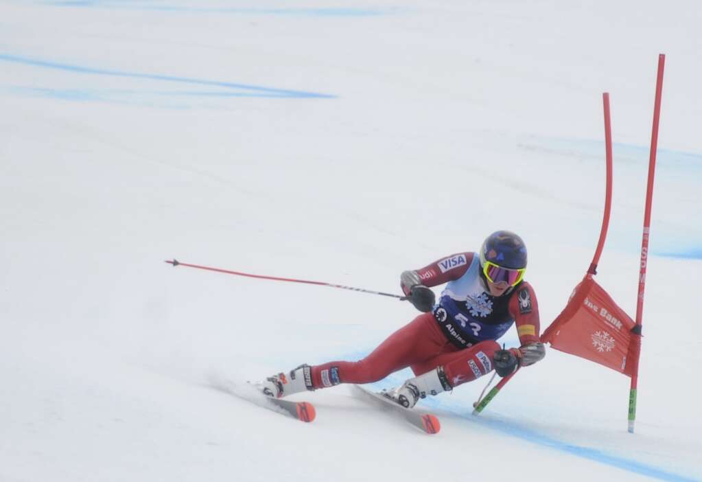 Steamboat Springs Winter Sports Club skier Bode Flanigan turns around a gate in a Giant Slalom race of the Spring Series at Steamboat Resort on Tuesday.